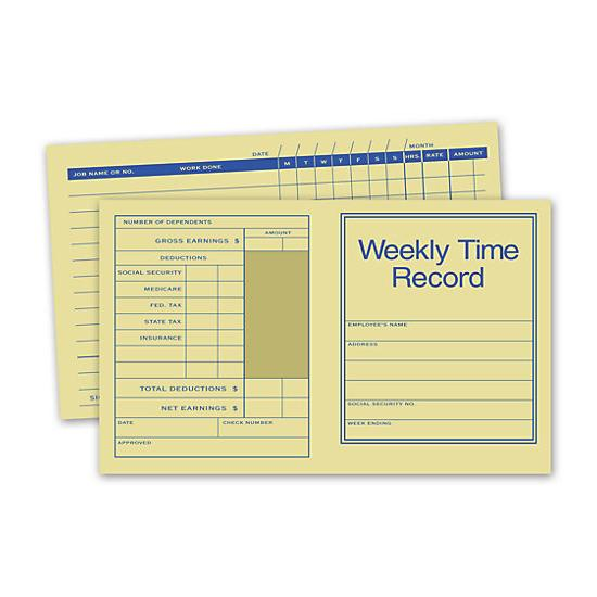 [Image: Pocket Size Weekly Time Records]