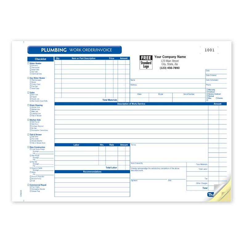 Plumbing invoice sample
