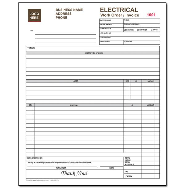 "[Image: Electrical Work Invoice - Custom Printed Bill, 2 or 3-Parts Forms, Carbonless Copies, Large 8 1/2 x 11""]"