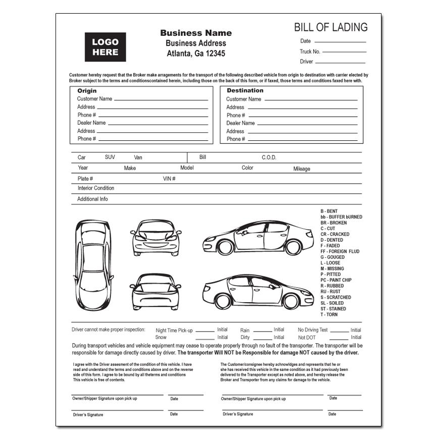 Auto Transport Invoice Template. Vehicle Transport Bill Of Lading