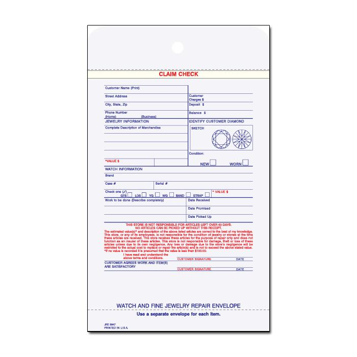 "[Image: Jewelry Repair Envelope - 3-Parts, Carbonless Copies, Pre Printed, Personalized, Claim Check, 5 1/2"" x 9 1/4""]"