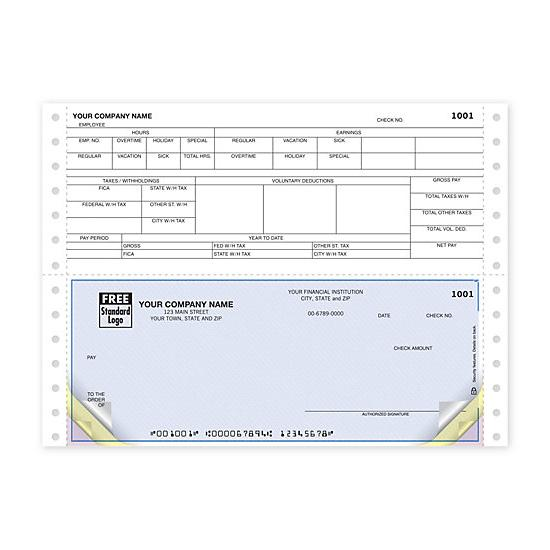 [Image: Continuous Bottom Payroll Check DCB315]