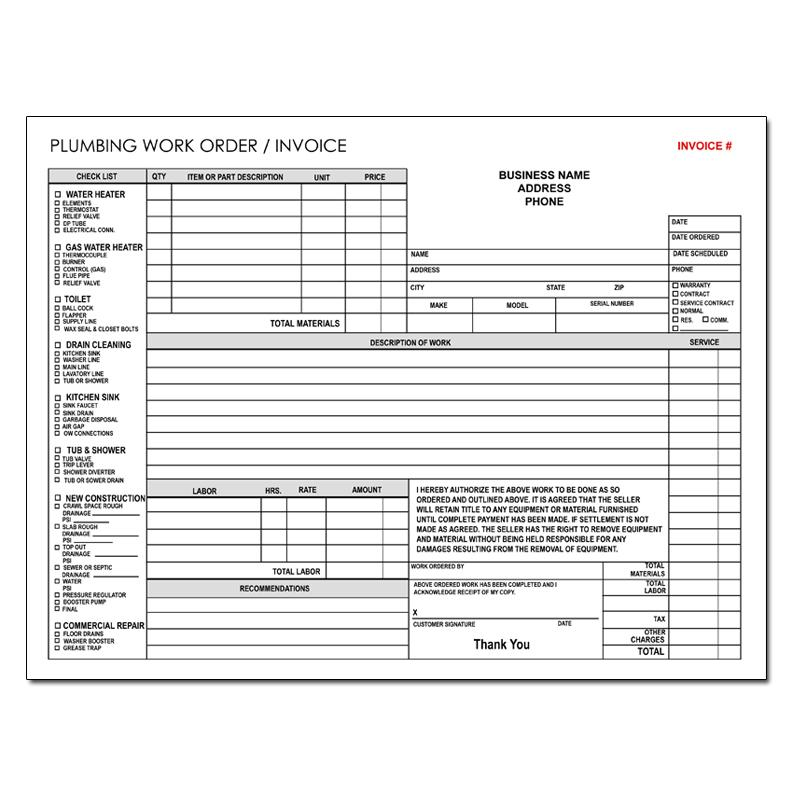 Product Details – Plumbers Invoice Template