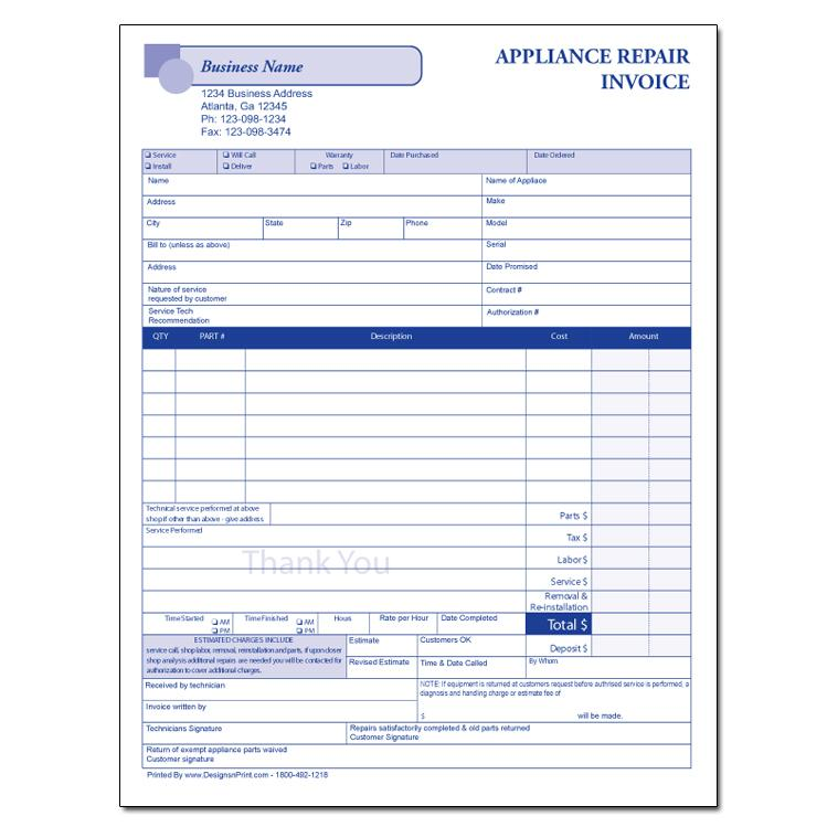 Appliance Repair Invoices  Custom Carbonless Forms  Designsnprint