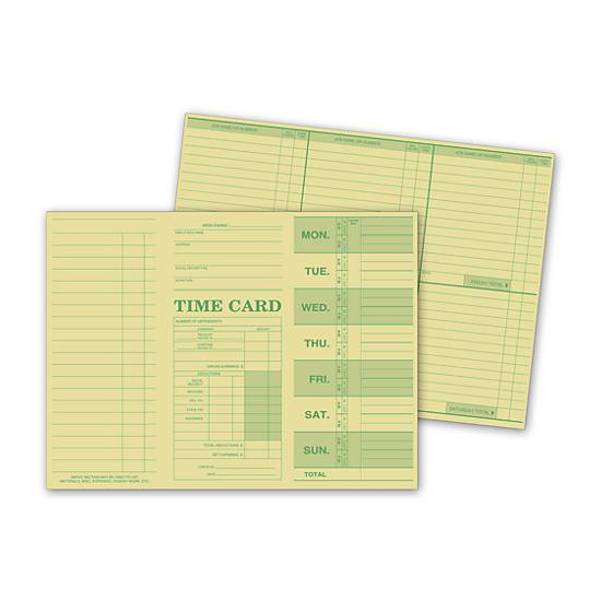 [Image: Weekly Time Card, Tag Stock]