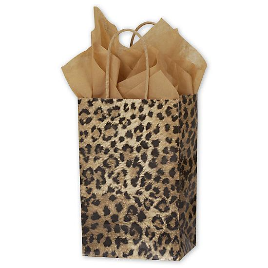 "[Image: Leopard Printed Paper Shopping Bag With Handles, 5 1/4 X 3 1/2 X 8 1/4"", Retail Bags]"
