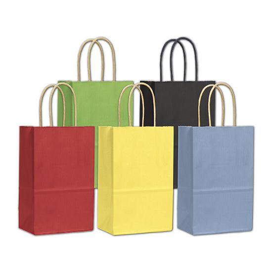 "[Image: Colored Shopping Paper Bag, 5 1/4 X 3 1/2 X 8 1/4"", Small Retail Bags]"