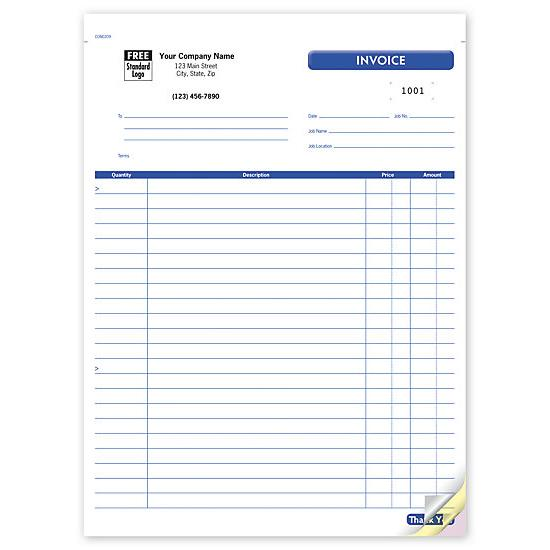 [Image: Contractor Job Invoice Form - Carbonless, Custom Printed]