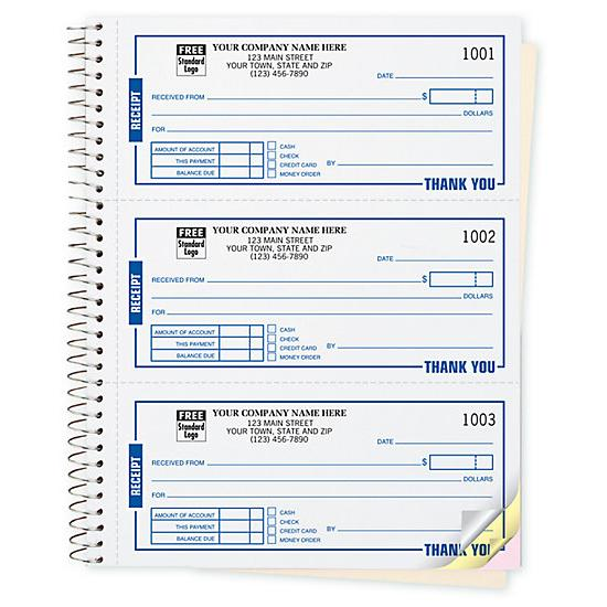 "[Image: Carbonless Money/Rent Receipt Books, Personalized, 6 3/4 x 8 1/2"", 2 or 3 Parts, Sets/Book]"