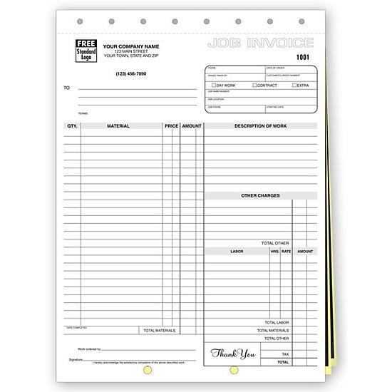 [Image: Work Order Form, Carbon, Large Format Job Invoice]