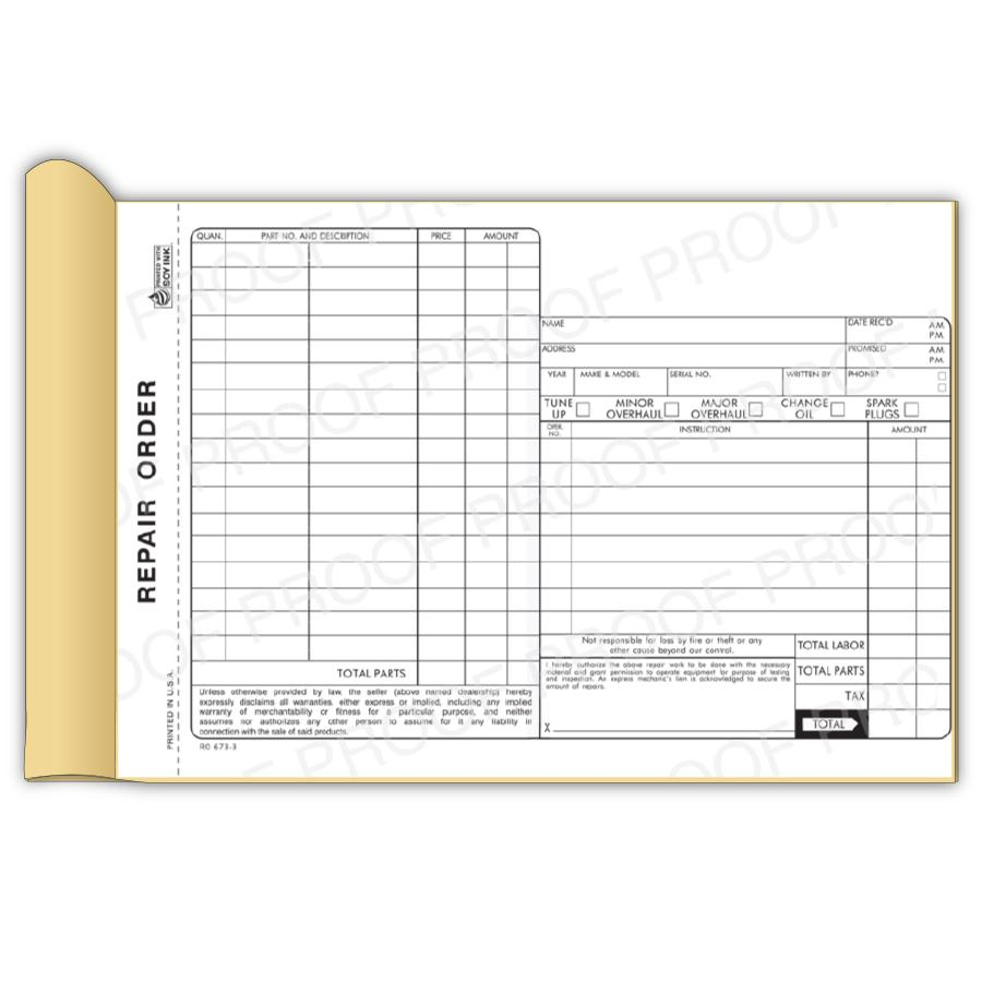 [Image: Mechanic Receipt Book - 3-Part Carbon Copies, Personalized, Printed]