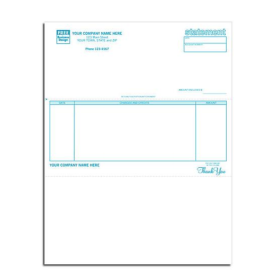 [Image: Billing Statement Form, Laser and Inkjet Compatible, Custom Printed, Perforated]