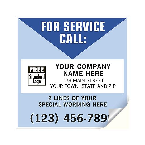 "[Image: Weatherproof Service Sticker - Durable Vinyl Labels For Outdoor or Indoor, Personalized Printing, Large 5 x 5""]"