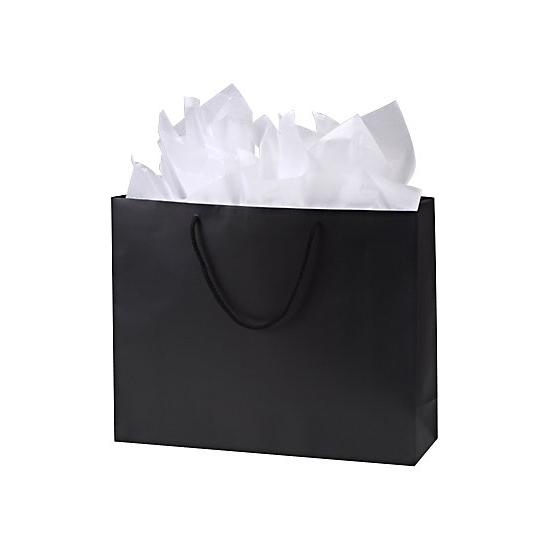 "[Image: Retail Shopping Bags - Premium Black Matte Euro-Shoppers, 20 X 6 X 16""]"