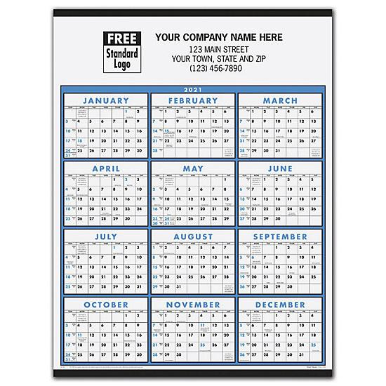 [Image: 2021 Non-Laminated Span-A-Year Calendar, Personalized & Custom Printed]