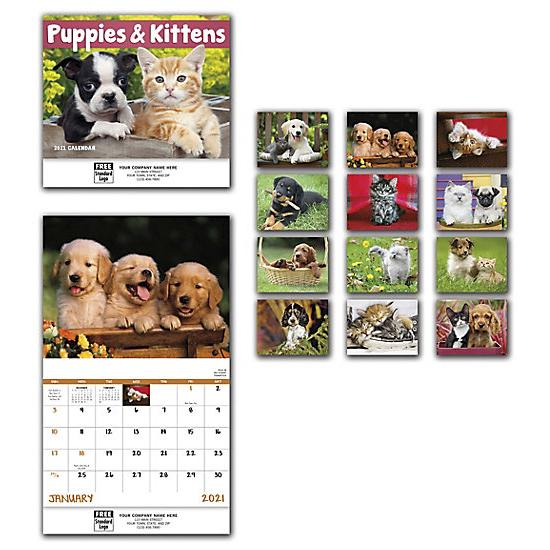 [Image: 2021 Puppies & Kittens Wall Calendar, Personalized & Custom Printed]