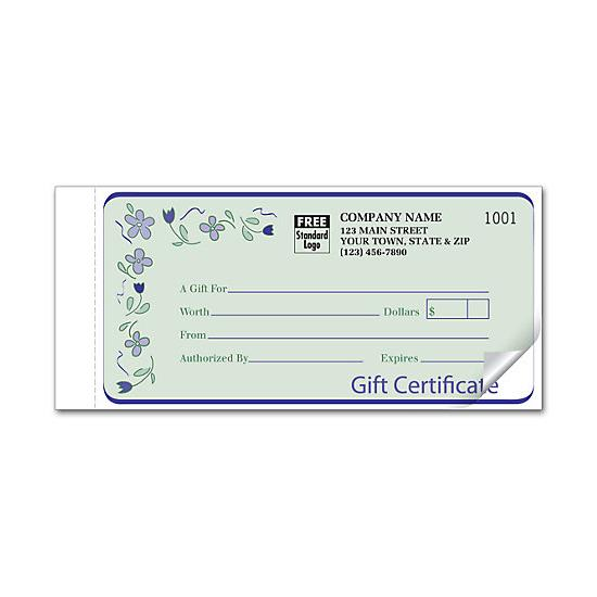 [Image: Custom Gift Certificate Snap Set, Carbon Copy, Spring Bouquet Design]