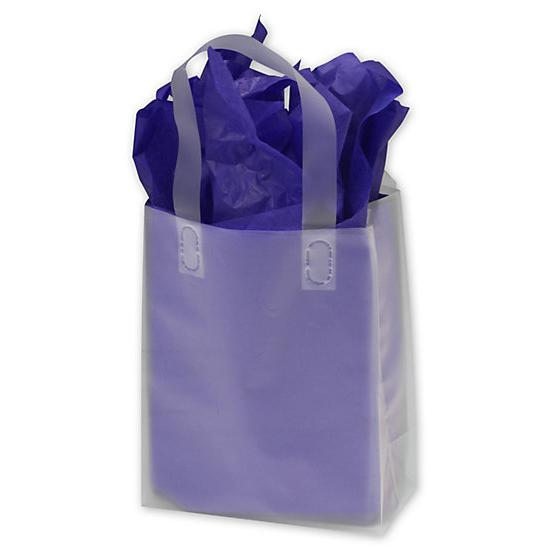 [Image: Clear Frosted High Density Flex Loop Shopper 8 X 4 X 10]