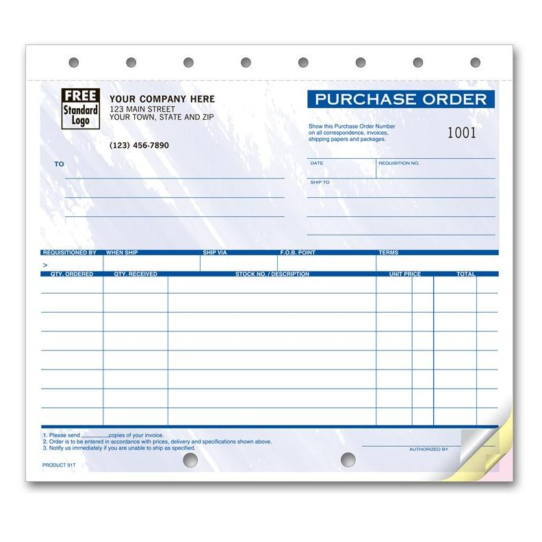 "[Image: General Purchase Order - Personalized Carbonless Business Forms, 2-Part, 3-Part, Pre-Printed, Small 8 1/2"" x 7""]"
