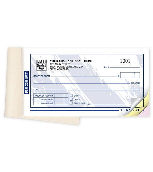 "[Image: Small Receipt Book - 1 Receipt Per Page, 50 Sets Per Book, Personalized, 6 3/4 x 3 3/8"", Multi-Part Carbonless Copies]"