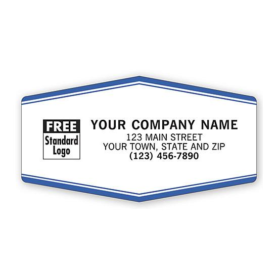 "[Image: Tuff Shield Laminated Sticker - Durable Service Reminder Labels, 3 1/2 x 1 7/8"", Personalized Printing]"
