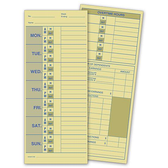 [Image: Weekly Time Card, Manila Tag Stock]