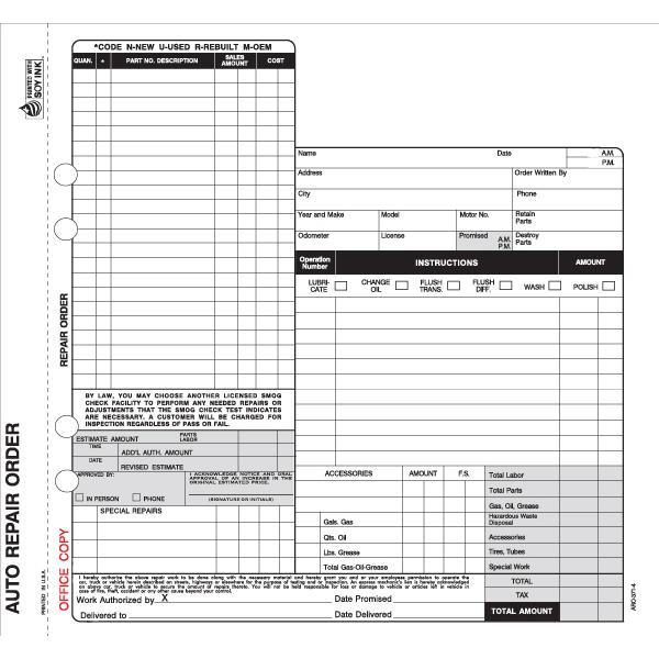 [Image: Auto Repair Order Form - 4-Part Carbon Copies, Personalized]