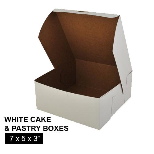 [Image: WHITE CAKE AND PASTRY BOX 7 x 5 x 3]