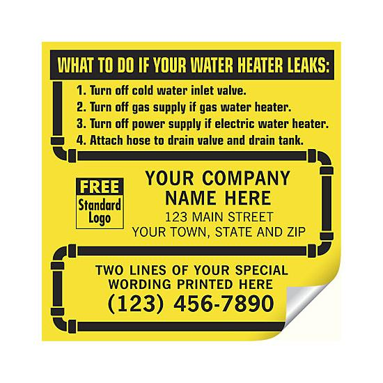 [Image: Water Heater Service Labels, With Pipe Border, Vinyl]