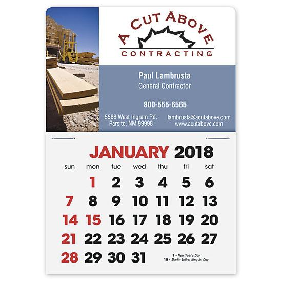 [Image: 2018 Full-Color Rectangle - Stick-Up Calendar Card]