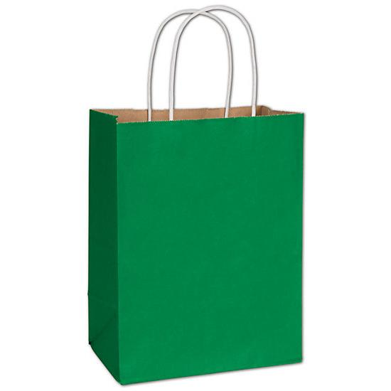 "[Image: Spruce Green Radiant Shopping Paper Bag, 8 1/4 X 4 3/4 X 10 1/2"", Retail Bags]"