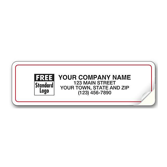 [Image: White Red Border Advertising Label 3 1/4 X 1]