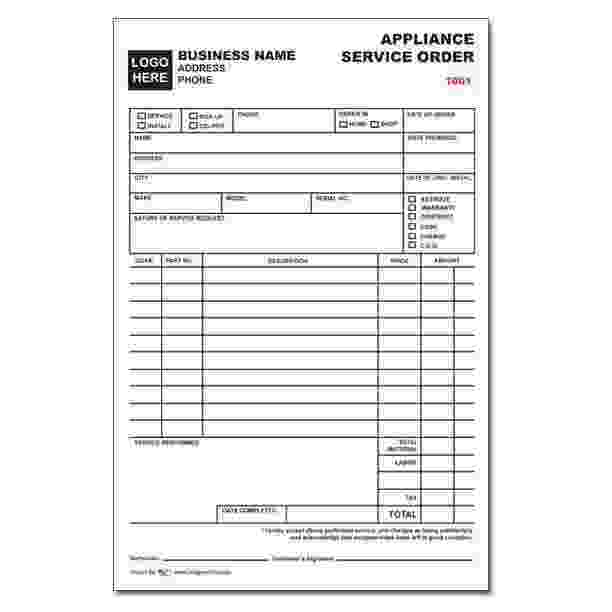 Appliance service order form designsnprint for Repair ticket template