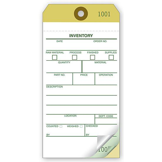 "[Image: Inventory Tags - 2 or 3-Parts, Carbonless Copies, Preprinted, Prenumbered, 13 pt. tag stock, 3 1/8 x 6 1/4"", 500 per Box]"