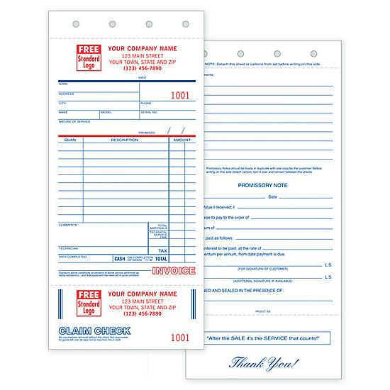 [Image: Service Order Invoice Form - With Claim Check And Carbons]