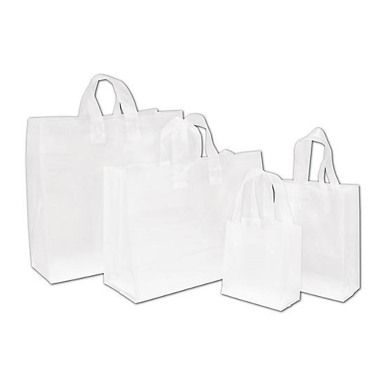 [Image: Clear Frosted High Density Shoppers Assortment Bags - Different Sizes]