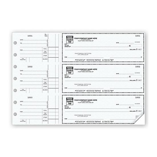 [Image: 3-On-A-Page Business Size Checks, Side-Tear Voucher 53220N]