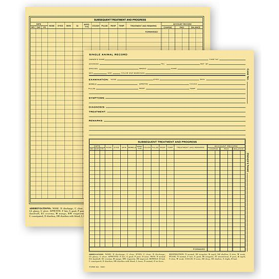 [Image: Vet Animal Exam Records, With Account Record, Letter Size]