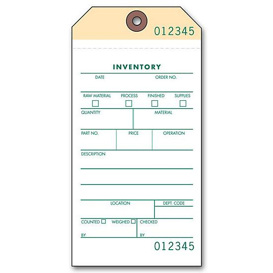 "[Image: 2 Part Inventory Tags - Carbonless Copies, Adhesive Tape on Back, Preprinted, Prenumbered, 3 1/8 x 6 1/4"", Box of 500]"