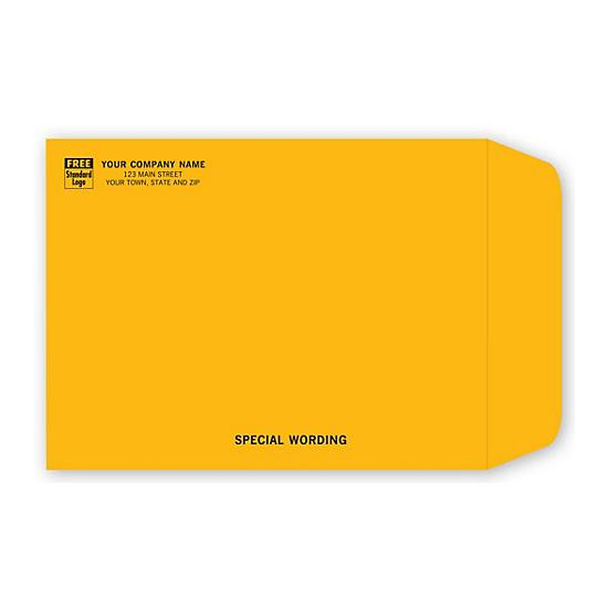 [Image: Brown Kraft Mailing Catalog Envelope with Return Address Printed, 9 x 12]