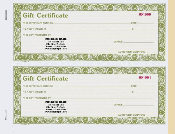 [Image: GIFT CERTIFICATE BOOK]