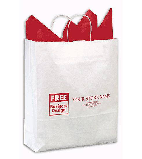 [Image: Custom Paper Shopping Bags - White Paper Shoppers Queen]