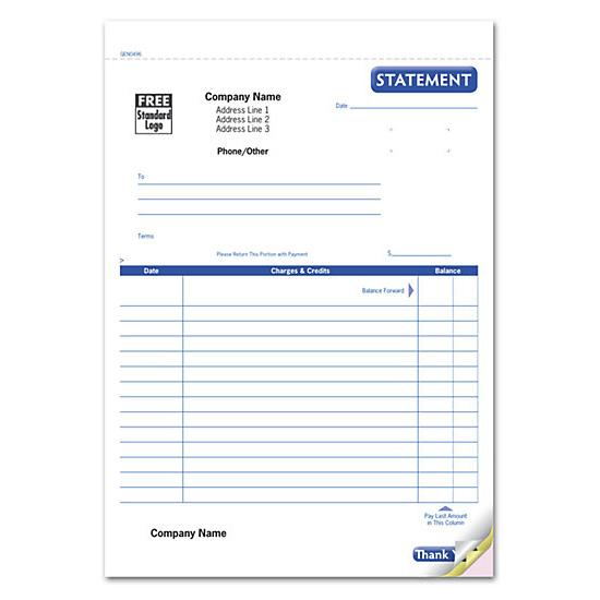 [Image: Account Statement, Lined Carbonless Form]