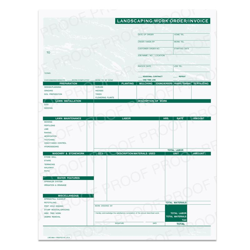 [Image: Landscaping Work Order-Invoice]