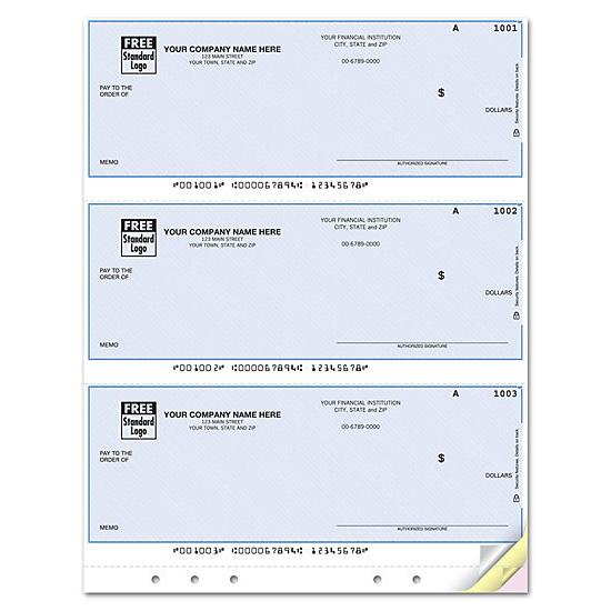 [Image: QuickBooks Laser 3-UP Multi-Purpose Check, Unlined, Hole-Punched DLA112]