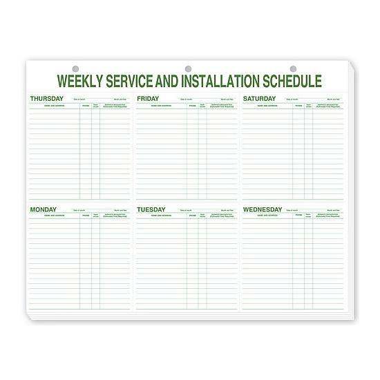 [Image: Weekly Service & Installation Schedule Pad, Hole Punch]