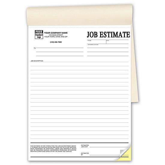 "[Image: Contractor Estimate Form - Custom Printed, 2 or 3-Parts Carbonless Copies, 50 Sets Per Book, Large 8 1/2 x 11""]"