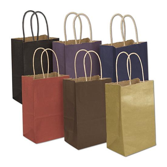 "[Image: Colored Kraft Shopping Bag, 5 1/4 X 3 1/2 X 8 1/4"", Small Retail Bags]"