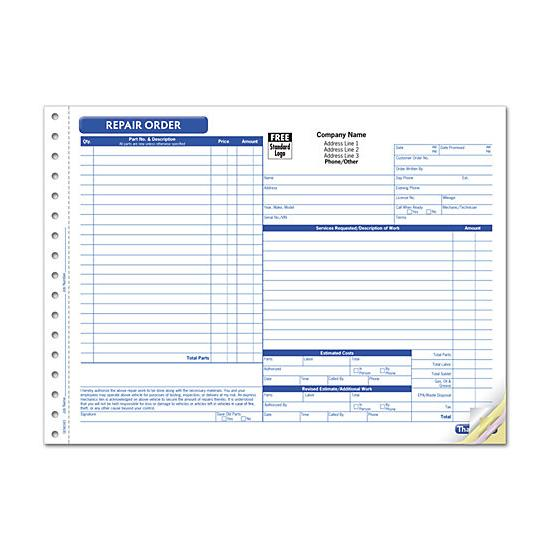 [Image: Repair Work Order Form, Large Format]