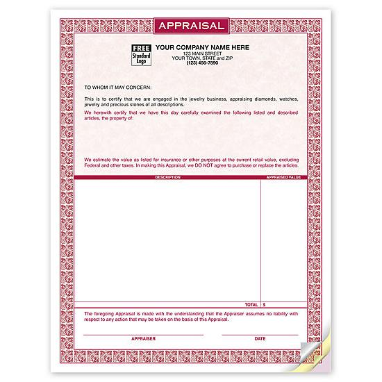 [Image: Appraisal Form Printed On Laser Parchment Paper]